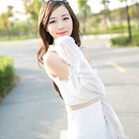 夏季雪纺蕾丝素色防晒袖套手套 简约长款遮阳防紫外线 白色