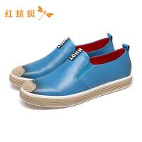 红蜻蜓新款纯色套脚舒适简约平底低跟休闲鞋男-