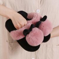 棉拖鞋女秋冬季室内可爱居家用厚底保暖韩版毛绒拖鞋