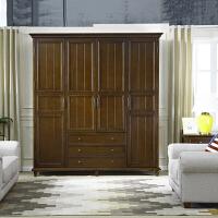 美式卧室家具整体衣柜4门大衣橱柜子 美式乡村衣柜实木