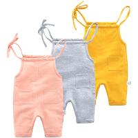 牛仔背带裤女童裤子婴儿春秋季1岁5个月男宝宝吊带裤背心裤
