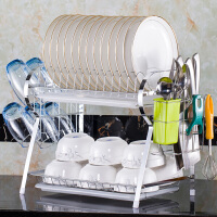 溧水的碗架 沥水碗架厨房挂壁式挂墙上的碗盘餐具收纳架家用置放碗碟架置物架 R架+挂杯架+绿色筷子筒[白 双盘] 送刀架