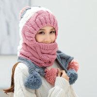 保暖时尚毛线帽女士围巾一体针织加厚防风帽子 韩版潮百搭甜美帽子女