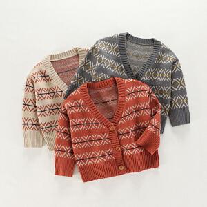 乌龟先森 儿童针织衫  男童秋冬季新款韩版糖果色V领针织开衫男孩条纹长袖粗针花打底衫毛衣