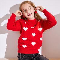 【2件3折到手价:96】小猪班纳童装女童加绒高领毛衣冬装新款儿童加厚针织衫中大童毛衫