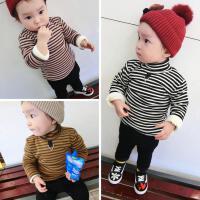冬季婴幼儿宝宝高领条子衫棉袄打底衫三层加绒保暖衣0-5