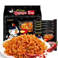 【满减】韩国进口三养超辣火鸡面140g*5袋辣鸡面干拌面方便面煮拉面包邮