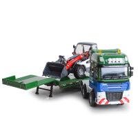 凯迪威全合金工程系列平板拖车带推土车组合滑行模型
