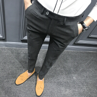 潮流男士休闲裤男西裤修身小脚韩版弹力裤英伦风青年长裤