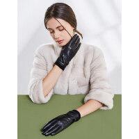 真皮手套女士户外保暖显瘦羊皮骑行摩托开车薄款加绒加厚触屏防滑