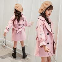 秋冬韩版儿童装中长款上衣小女孩洋气风衣潮女童毛呢外套