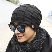 男士帽子 时尚潮韩个性针织潮牌保暖护耳潮人套帽男毛线帽
