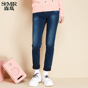 森马水洗牛仔裤 冬装 女士中低腰修身弹力小脚长裤