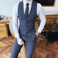 绅士英伦男士条纹马甲套装时尚发型师伴郎新郎礼服西裤两件套修身