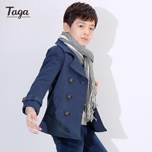 TAGA  童装新款童装男童翻领大衣儿童空气层风衣中大童上衣