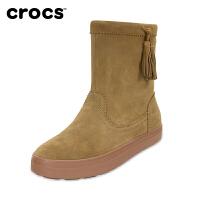 【下单立减150】Crocs卡骆驰女鞋 保暖雪地靴女冬芮莉洛基软跟平底短筒靴|203425 女士芮莉洛基靴