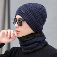帽子男士冬天保暖防风毛线帽青年针织帽加绒套帽冬季骑车护耳帽棉新品 套装 (帽子+围脖)