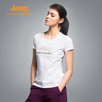 【满100减20/满279减100】Jeep/吉普 夏季女士户外速干透气排汗短袖T恤衫J676011865