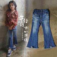 女童牛仔裤不加绒 春秋弹力单裤女大童微喇叭裤儿童12-15岁 韩版