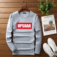 男式长袖T恤男装运动t恤ins超火白色黑色原宿加肥加大UPSOAR
