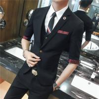 袖小西装男士套装修身韩版英伦风中袖西服夜店西装两件套