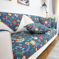 美式全棉沙发垫简约现代布艺纯棉田园四季通用防滑皮沙发套巾全包