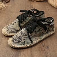 夏季懒人帆布鞋男鞋子潮鞋渔夫鞋男士休闲鞋学生亚麻鞋平底草编鞋