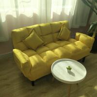 懒人沙发双人小户型阳台小沙发可叠卧室单人沙发床榻榻米沙发床 三人座加大加厚款黄色送抱枕2个
