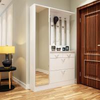 鞋柜现代简约超薄门厅柜多功能储物柜进门挂衣架组合穿衣镜玄关柜 组装