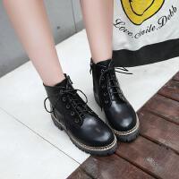 儿童黑色马丁靴女童单鞋秋冬小孩高跟短靴中大童靴子皮靴
