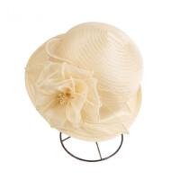 韩版遮阳帽可折叠欧根纱帽子短檐卷边礼帽防晒帽凉帽女士帽子