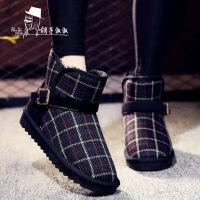 短筒防滑加绒鞋子短靴加厚棉鞋女士靴子冬季新款防水雪地靴女