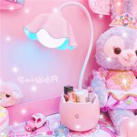 【满减优惠】粉色花朵ins小台灯宿舍卧室护眼学习台灯led少女心学生阅读床头灯