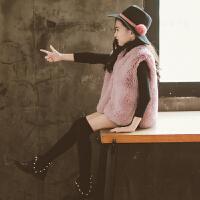 女童冬装仿皮草外套韩版时尚马甲小女孩秋冬季洋气背心潮