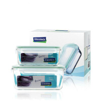 三光云彩玻璃扣Glasslock玻璃饭盒 保鲜盒便当盒两件套GL05-2AB