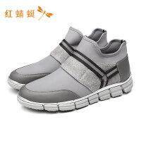 红蜻蜓新款中跟平底轻便套脚舒适运动鞋休闲时尚男鞋