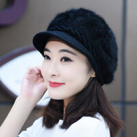 时尚潮兔毛帽子女 新款可爱百搭鸭舌帽女 韩版加绒保暖针织毛线帽