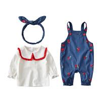女宝宝套装婴儿背带裤两件套春秋公主时髦女童春装
