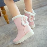 韩版秋冬小女孩短靴蝴蝶结公主棉靴绒童鞋女童靴子毛毛靴