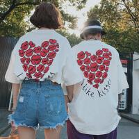 情侣装夏季新款卡通印花短袖T恤韩版宽松打底衫学生小清新