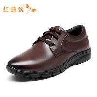 红蜻蜓男鞋春季新款男商务正装皮鞋真皮舒适休闲单鞋系带男低帮鞋-