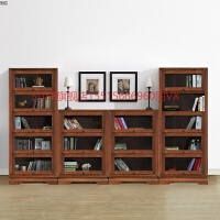 橡木实木书柜家用办公带门多层书架柜子收纳储物书房简约现代 0.8-1米宽