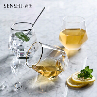 金边六棱几何玻璃茶杯威士忌酒杯鸡尾酒杯酒吧生活家用炫彩水杯