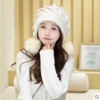 韩版百搭帽子女士三球护耳毛线针织帽子可爱加厚大毛球帽子
