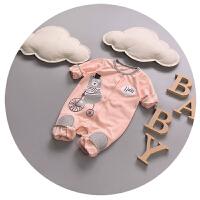婴儿连体衣春秋开衫纯棉新生儿衣服3-6个月0宝宝外出服哈衣卡通潮