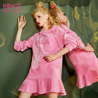 妖精的口袋连衣裙女午夜月光秋装女新款连帽荷叶边丝绒长袖连衣裙
