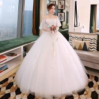 2018新款公主齐地蓬蓬裙显瘦拖尾结婚新娘婚纱礼服