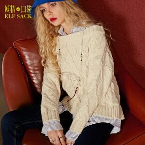 【3折价137.7元】妖精的口袋我和汤姆秋装新款复古拼接衬衫假两件毛衣女