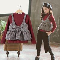 韩版洋气假两件加绒加厚t恤格子宝宝上衣女童打底衫秋冬
