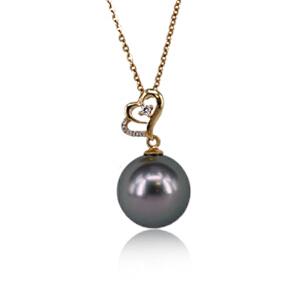 梦 梵雅 珍珠项链 海水珠 18k金镶5A级大溪地黑珍珠吊坠